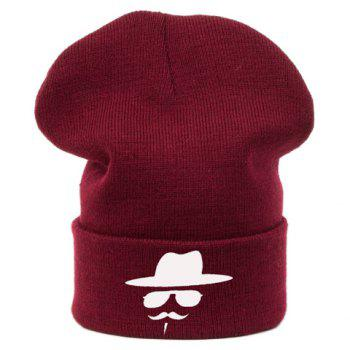 Stylish Cap Sunglasses Moustache Pattern Brim Flanging Men's Knitted Beanie - RANDOM COLOR