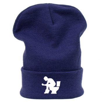 Stylish Men and Closestool Pattern Brim Flanging Men's Knitted Beanie - RANDOM COLOR