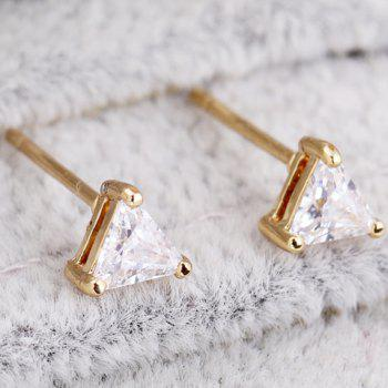 Pair of Faux Crystal Triangle Shape Earrings - WHITE