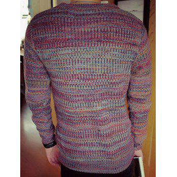 Laconic Round Neck Assorted Color Long Sleeves Men's Slimming Sweater - RED L