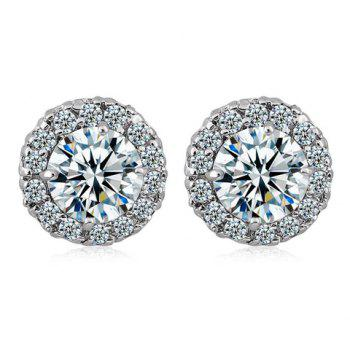 Pair of Rhinestoned Faux Crystal Round Earrings