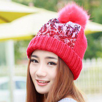 Chic Faux Fur Ball and Sequins Embellished Women's Knitted Beanie - RANDOM COLOR RANDOM COLOR