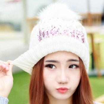 Chic Faux Fur Ball and Sequins Embellished Women's Knitted Beanie -  RANDOM COLOR