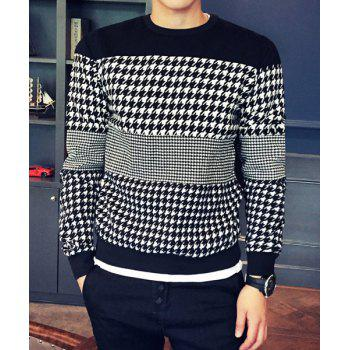 Round Neck Houndstooth Splicing Design Long Sleeve Men's Sweatshirt