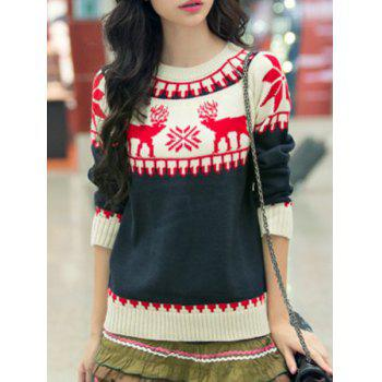 Attractive Long Sleeve Elk Printed Pullover Snowflake Sweater For Women