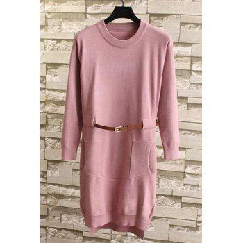 Buy Chic Style Solid Color Pocket Design Jewel Neck Long Sleeve Sweater Women PINK