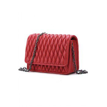 Stylish Checked and Chains Design Women's Crossbody Bag - WINE RED
