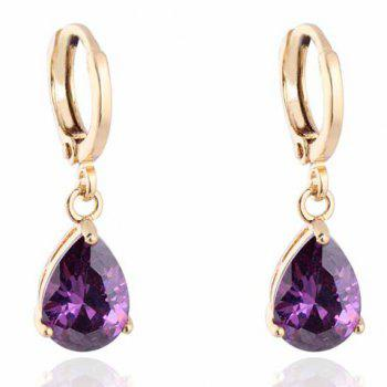 Pair of Faux Crystal Water Drop Shape Earrings - PURPLE