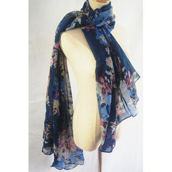 Chic Handpainted Flowers and Leaves Pattern Women's Scarf - DEEP BLUE