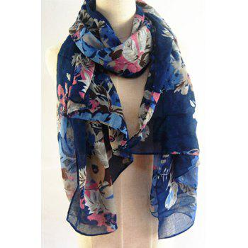 Chic Handpainted Flowers and Leaves Pattern Women's Scarf