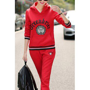 Active Women's Hooded Long Sleeve Printed Hoodie and Elastic Waist Pants Suit