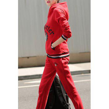 Active Women's Hooded Long Sleeve Printed Hoodie and Elastic Waist Pants Suit - RED M