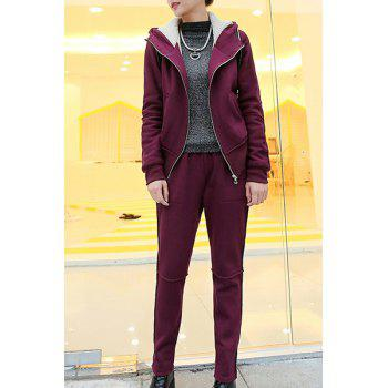 Casual Long Sleeve Hooded Zip Up Hoodie + Solid Color Pants Women's Twinset