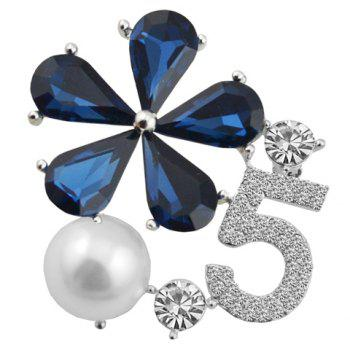 Chic Rhinestoned Faux Pearl Floral Brooch For Women - BLUE BLUE