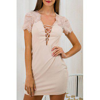 Stylish Women's Plunging Neck Short Sleeve Criss-Cross Strap Lace Spliced Dress
