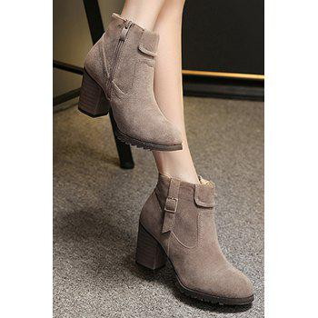 Stylish Suede and Chunky Heel Design Women's Ankle Boots - KHAKI 37