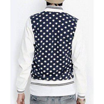 PU-Leather Spliced Stripe Rib Stand Collar Star Print Long Sleeve Men's Baseball Jacket - WHITE XL