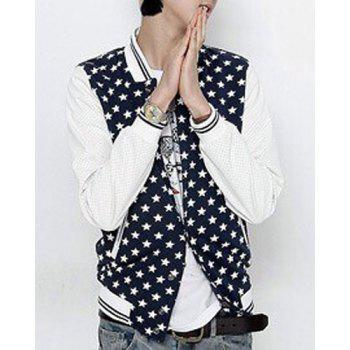 PU-Leather Spliced Stripe Rib Stand Collar Star Print Long Sleeve Men's Baseball Jacket