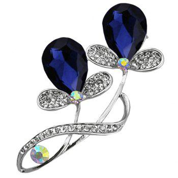 Chic Faux Crystal Rhinestone Plant Shape Brooch For Women - SAPPHIRE BLUE SAPPHIRE BLUE