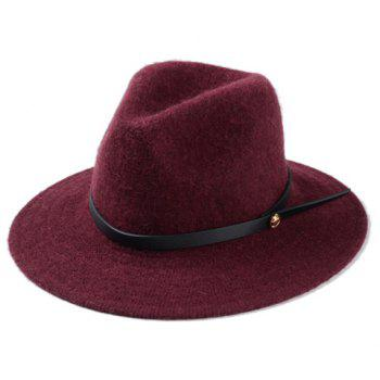 Chic Slender Belt Embellished Solid Color Women's Winter Jazz Hat