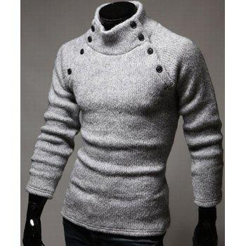 Double-Breasted Solid Color Slimming Half-Collar Long Sleeves Men's Hot Sale Sweater