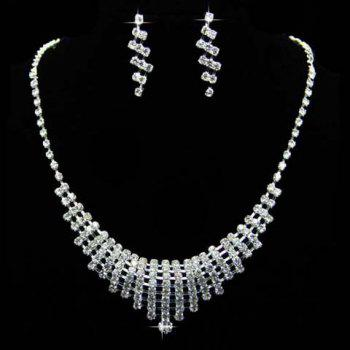 Suit Rhinestoned Hollow Necklace Earrings