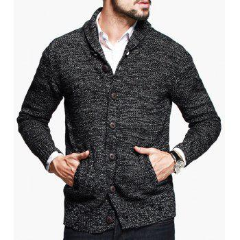 Assorted Color Patch Pocket Slimming Shawl Collar Long Sleeves Men's Vogue Cardigan