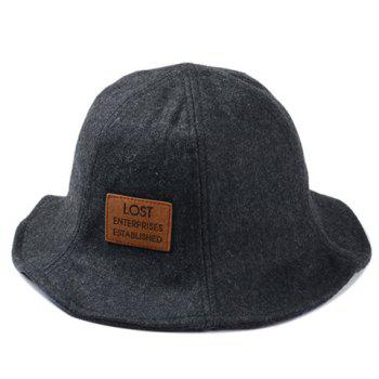 Stylish Letters Label Embellished Men's Felt Bucket Hat