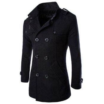 Epaulet Design Turn-Down Collar Double Breasted Long Sleeve Woolen Men's Peacoat