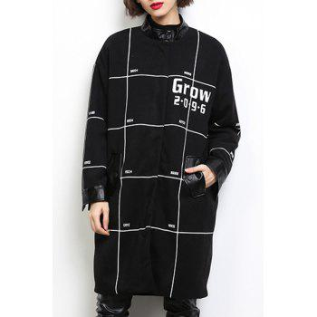 Casual Stand Collar Loose-Fitting Long Sleeves Printed Coat For Women