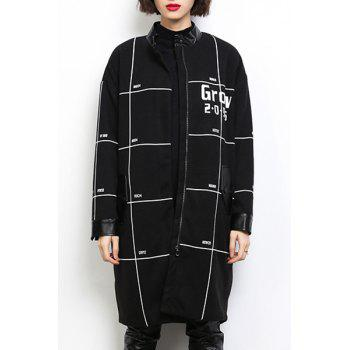 Casual Stand Collar Loose-Fitting Long Sleeves Printed Coat For Women - BLACK L