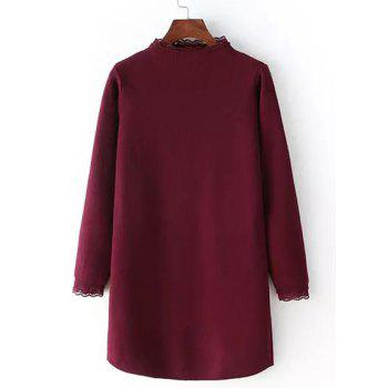 Stand Collar Long Sleeve Laciness Sweater Dress For Women