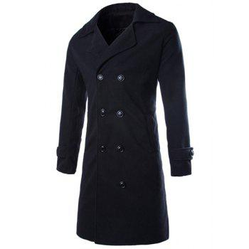 Double Breasted Turndown Collar Longline Peacoat