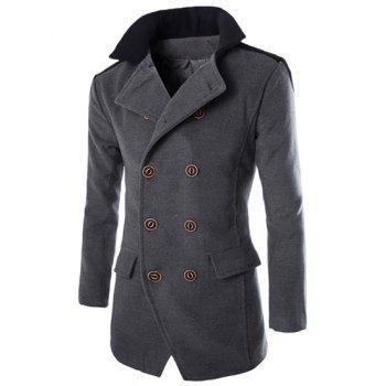 Double Breasted Color Block Spliced Turn-Down Collar Long Sleeve Woolen Men's Peacoat
