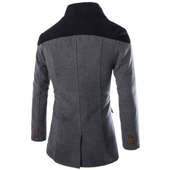 Double Breasted Color Block Spliced Turn-Down Collar Long Sleeve Woolen Men's Peacoat - GRAY L