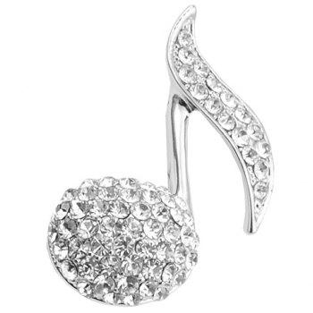 Cute Solid Color Rhinestoned Music Note Brooch For Women