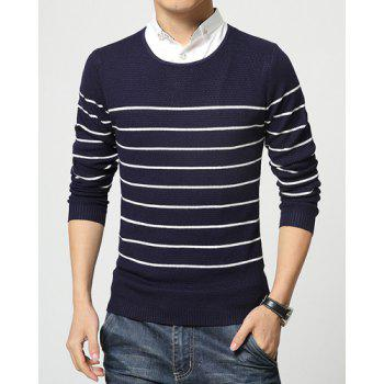 Faux Twinset Color Block Stripes Jacquard Slimming Shirt Collar Long Sleeves Men's Sweater