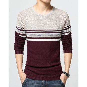 Hot Sale Round Neck Color Block Stripes Jacquard Slimming Long Sleeves Men's Thicken Sweater