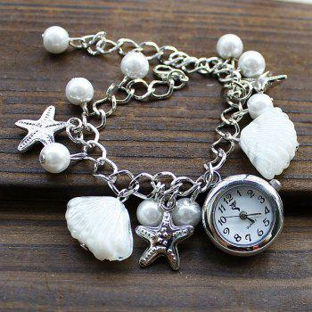 SL004 Shell Starfish Bead Pendant Quartz Watch Chain Wristwatch for Women