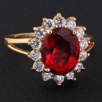 Retro Rhinestone Faux Ruby Round Ring - RED ONE-SIZE