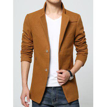 Solid Color Zipper Pocket Logo Pattern Slimming Stand Collar Long Sleeves Men's Woolen Blend Coat