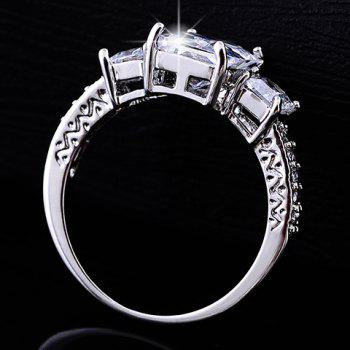 Geometric Rhinestone Faux Crystal Ring - WHITE ONE-SIZE