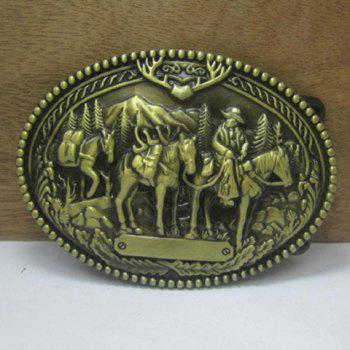Stylish Cowboy and Horse Shape Embellished Metal Belt Buckle For Men