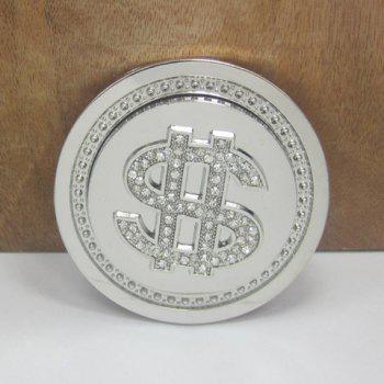 Stylish Rhinestone Inlay Dollar Sign Round Shape Men's Belt Buckle