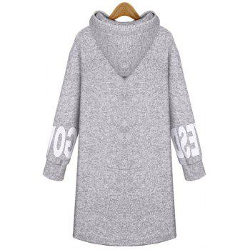 Casual Hooded Letter Printed Pocket Long Pullover Hoodie For Women - LIGHT GRAY XL