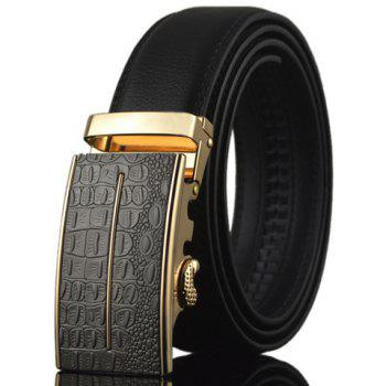Stylish Crocodile Skin Shape and Bar Embellished Auto Buckle Men's Belt