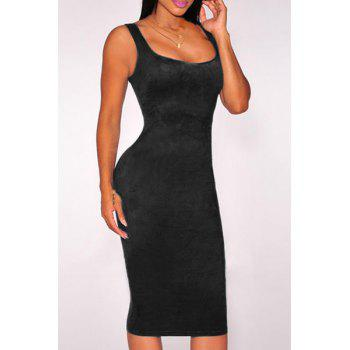 Sexy Low-Cut U-Neck Solid Color Sleeveless Bodycon Velvet Dress For Women