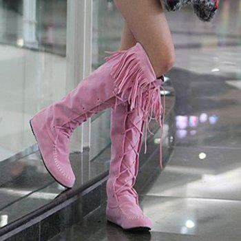 Charming Fringe and Suede Design Knee-High Boots For Women - PINK 38