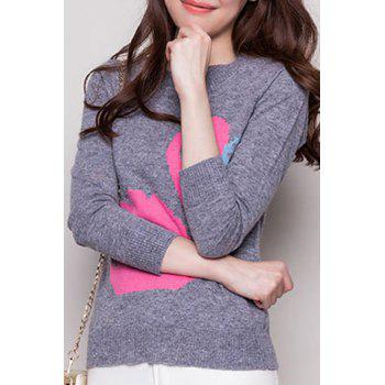 Cute Swan Pattern Round Neck Long Sleeve Sweater For Women - GRAY 2XL