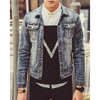 Turn-Down Collar Letters Pattern Hole Embellished Long Sleeve Slimming Men's Denim Jacket